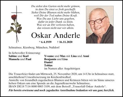 Oscar Anderle - Traueranzeige