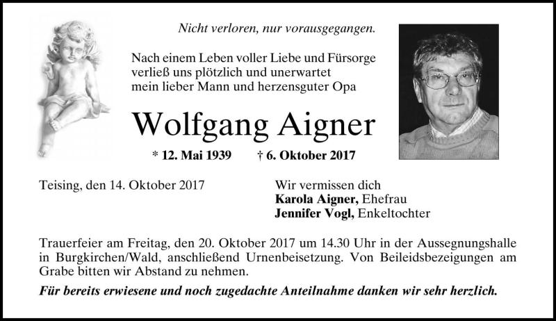 temblor Biblioteca troncal en voz alta  Wolfgang Aigner - PNP Trauerportal
