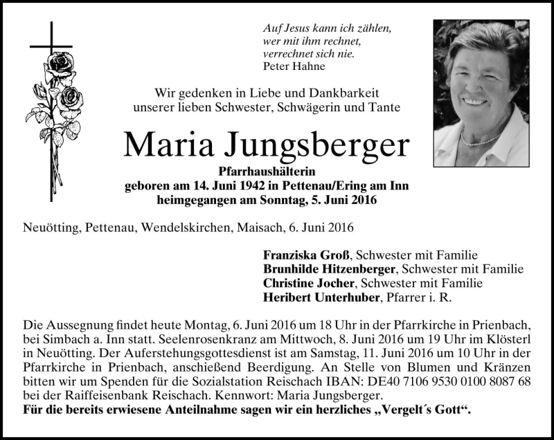 Maria Jungsberger, Neuötting