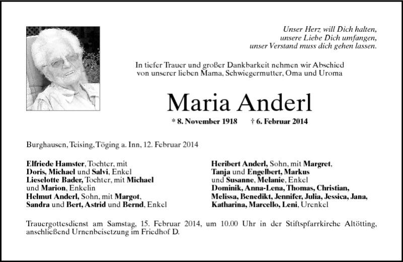 Maria Anderl Pnp Trauerportal