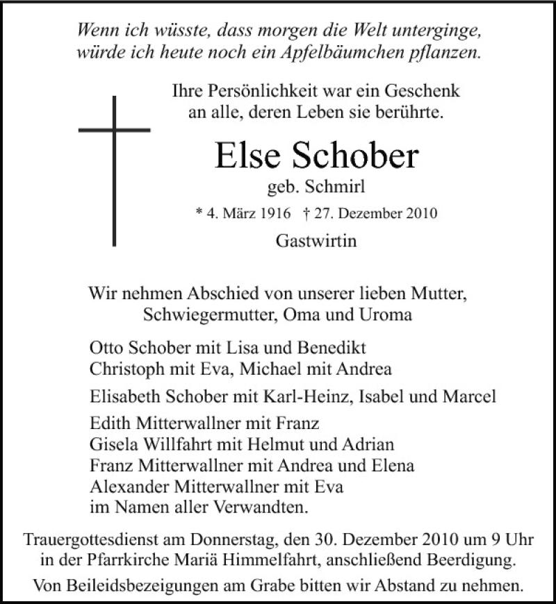 Else Schober Pnp Trauerportal